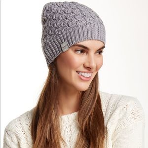 NEW UGG Nyla Textured Shimmer Knit Grey Beanie Hat